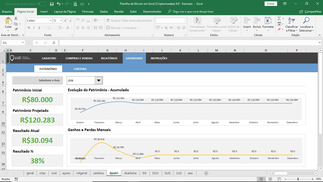 Planilha de Bitcoin (Criptomoedas) em Excel