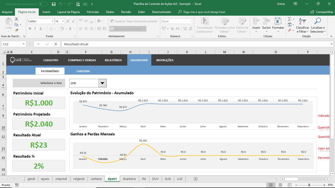 Planilha de Controle de Ações para Investidores em Excel