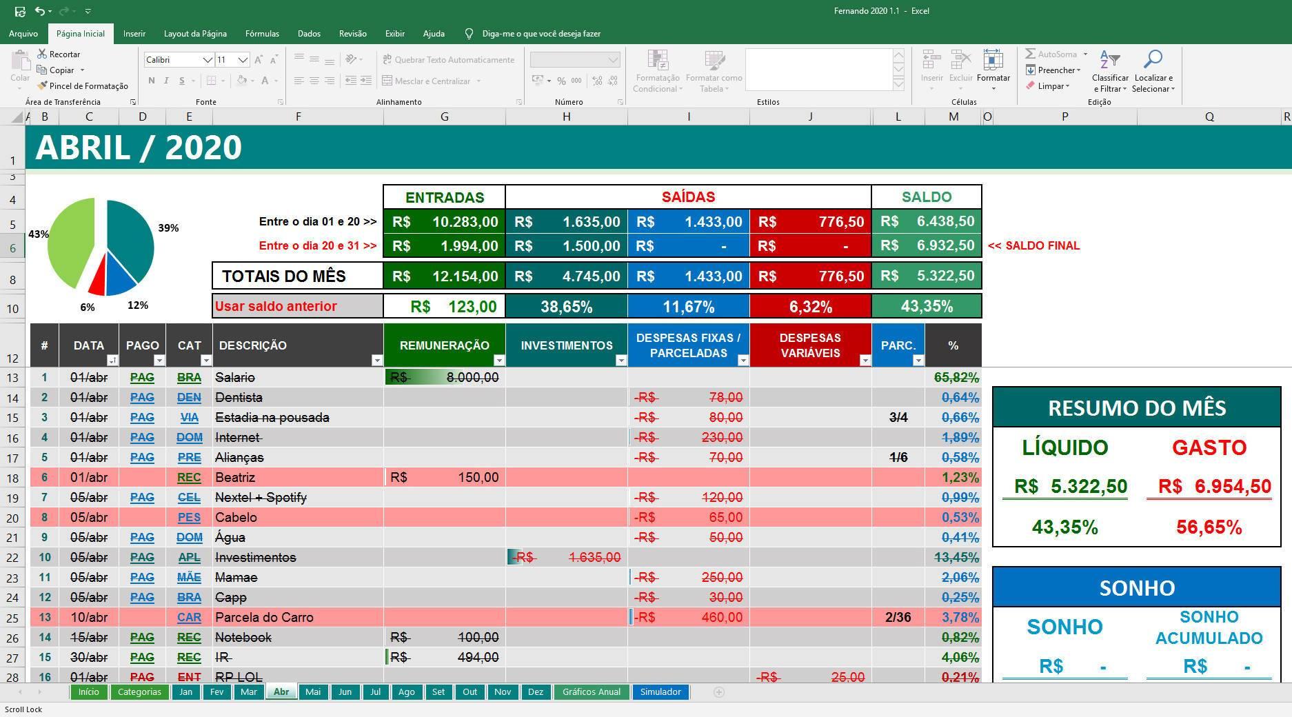 Organizze Plan – Planilha de Controle Financeiro Pessoal + Investimentos