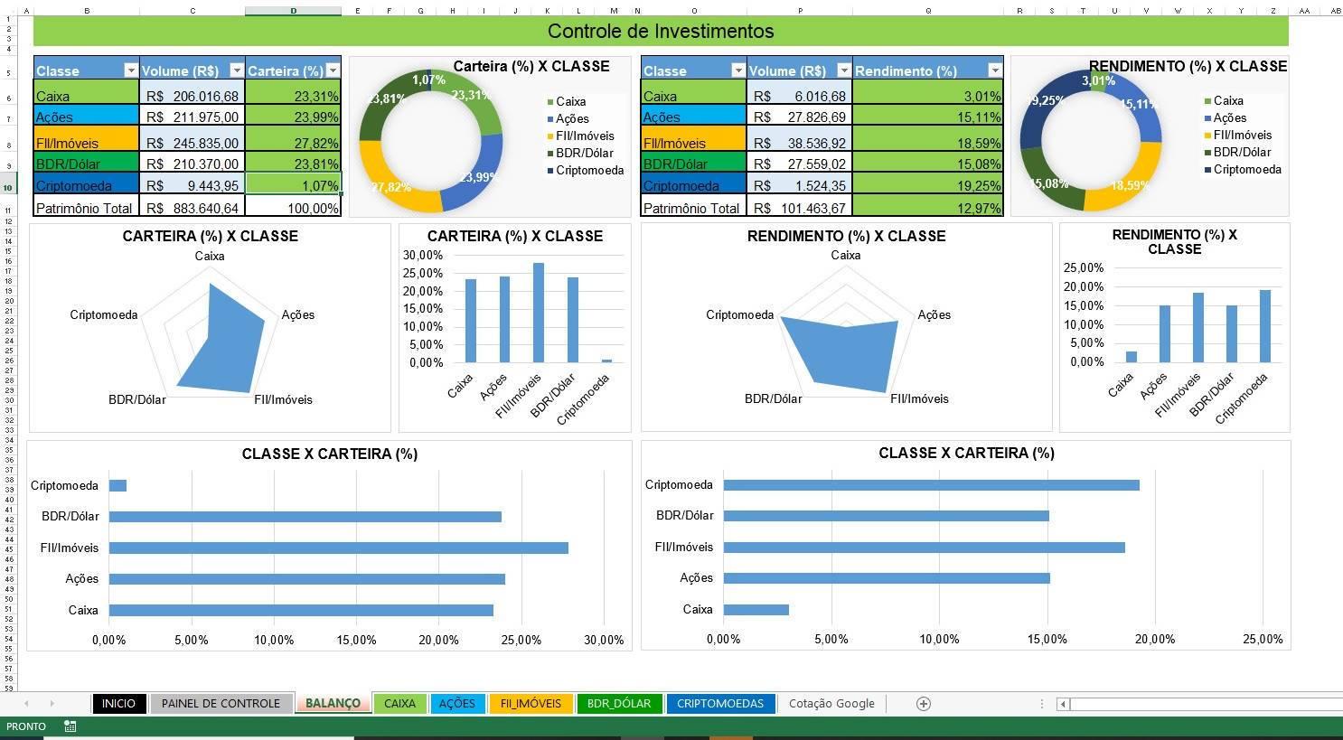 Planilha de Investimentos e Cotações Automáticas em Excel 4.0