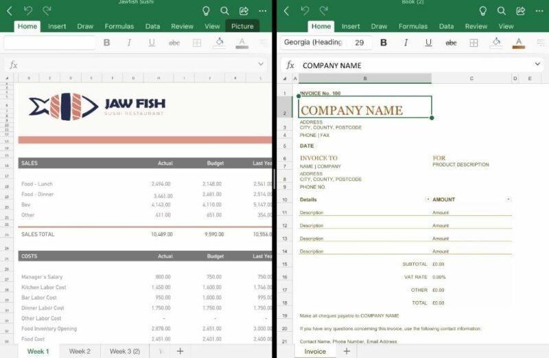 Abra vários documentos no Excel no iPadOS