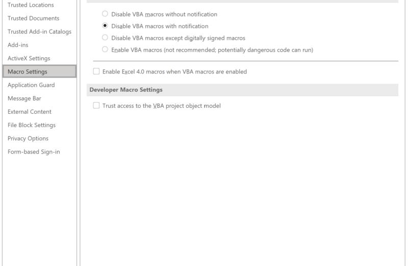 Restrinja o uso de macros do Excel 4.0 (XLM) com o novo controle de configurações de macro