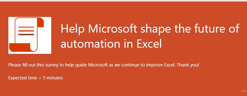 Ajude-nos a moldar o futuro da automação no Excel