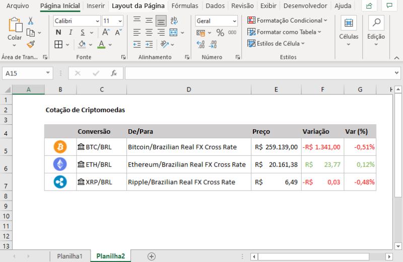 Cotações Automáticas de Criptomoedas no Excel 365
